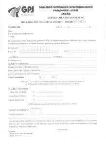 formulario declaracion de capital en giro